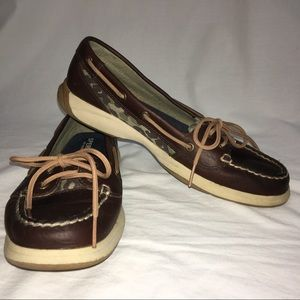 Sperry Top Sider Shoes 8 Camo Print Brown Green